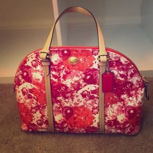 Floral Patterned Coach Purse